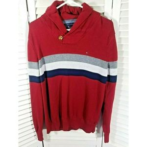 Tommy Hilfiger Red Striped Long Sleeve Sweater